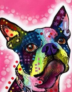 Colorful+Boston+Terrier+Dog+Print