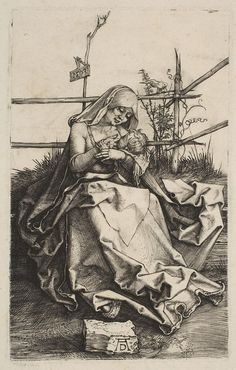 Engraving Albrecht Dürer, 'The Virgin and Child on a grassy Bench (B. Christie's Old Masters This process artists incise their image directly onto a metal plate, which is then inked and printed. Albrecht Durer, Art Sur Toile, Renaissance Kunst, Principles Of Art, Reproduction, Italian Artist, Vintage Wall Art, Funny Art, Op Art