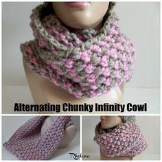 Alternating Chunky Infinity Cowl ~ FREE Crochet Pattern