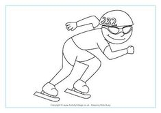 Speed Skating Colouring Page Olympic Idea, Olympic Sports, Olympic Games, Olympic Crafts, Speed Skates, 2018 Winter Olympics, Winter Activities For Kids, School Sports, Winter Sports