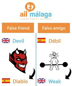 "Don't get #tricked by the devil! In #Spanish ""débil"" means weak :) #LearnSpanish #FalseFriends"