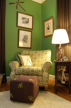 cozy corner! i'd like to do something like this in the corner of our bedroom - pictures, chair and little table with reading lamp...