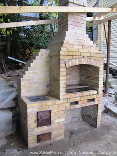 ovens DIY ovensDIY ovens Frame your living room fireplace with built-in seating. Outdoor Barbeque, Outdoor Oven, Outdoor Cooking, Design Barbecue, Grill Design, Outdoor Fireplace Patio, Brick Grill, Oven Diy, Bbq Set