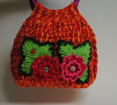 Colorful Crochet Handbag With Beautiful Flowers by MagicalStrings, $45.60