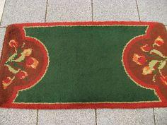 Vintage hooked rug Art Deco 1930s green wool from Ireland Depression era