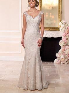 Vestido de noiva Simples Sem Mangas Cauda Pequeno