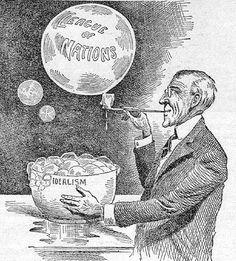 Woodrow Wilson's soap bubble: League of Nations.