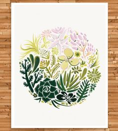Succulent Art Print | With a subtle ombre and calming pastel colors, this hand-paint... | Posters