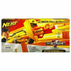 "Hasbro Nerf Stampede ECS-50 HSB94665 by Hasbro. $49.11. 100 Darts Total. 1 6-dart Quick-Reload clip. 3 18-dart extended clips,. Pop-out bipod accessory and instructions. Launch an all-out assault with the fully automatic STAMPEDE ECS blaster! Unleash a storm of darts from the extended 18-dart clip and reload in a hurry with the three spares. This high-capacity blaster even includes a blast shield to deflect an incoming ""fire"" and a pop-out bipod for stability! Bla..."