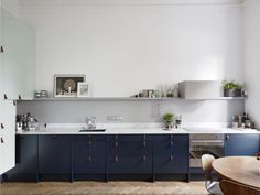 Alla Bilder Swedish Kitchen | Remodelista: A Swedish kitchen with a palette of navy blue and minty green with leather cabinet pulls, via Entrance Fastighetsmäkleri.
