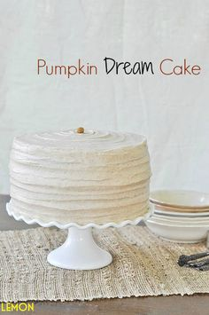 Pumpkin Dream Cake:  3 layer pumpkin cake smothered in cinnamon-maple cream cheese frosting.  www.lemon-sugar.com