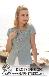 """DROPS Jacket in 2 threads """"Alpaca"""" with short sleeves and shirred pattern on yoke. Size S - XXXL - Free pattern by DROPS Design Knitting Designs, Knitting Patterns Free, Knit Patterns, Free Knitting, Free Pattern, Drops Design, Crochet Blouse, Knit Crochet, Magazine Drops"""