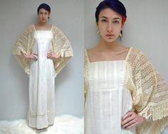 Boho Wedding Dress  //  Angel Sleeve Dress  by VintageUrbanRenewal