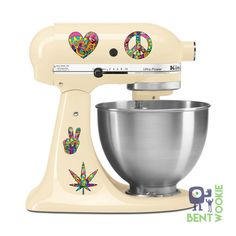 Peace Love Fun Munchies Kitchen Aid Mixer Decal by BentWookieDecal