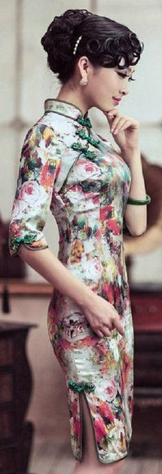 Contemporary floral qipao