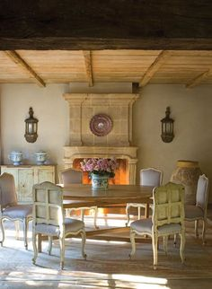 Chateau Domingue Timeless European Elegance and French farmhouse style converge in this house tour of founder Ruth Gay's home on Hello Lovely. Reclaimed stone, antique doors and mantels, and one of a kind architectural elements. French Farmhouse Decor, French Country Kitchens, Farmhouse Fireplace, Farmhouse Interior, French Cottage, French Country House, French Decor, French Country Decorating, Farmhouse Style