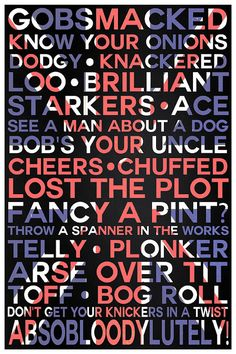 Typography Print British SlangTypographical by ThePDXPhotographer, $30.00
