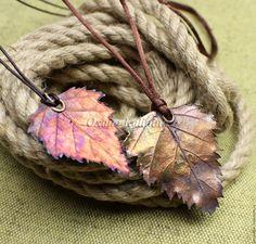 Купить Кулон Березовый лист - комбинированный, медный, лист кулон, бохо кулон, ролевые, флора