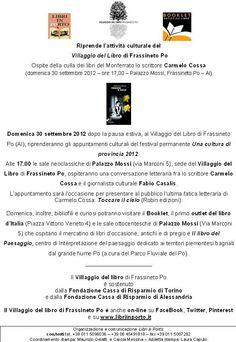 riprendono gli appuntamenti al Villaggio del Libro di Frassineto Po www.libriinporto.it