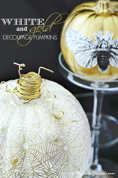 A little glam and glitz! White and gold decoupage pumpkins with gold wire wrapped stem