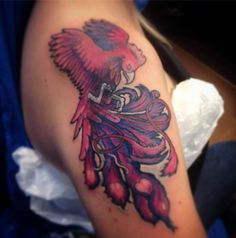 Pink phoenix tattoo cover-up by Julie Loomer