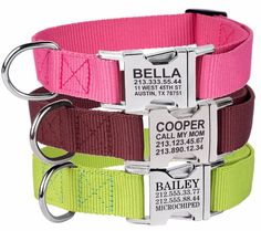 Personalized Dog Collar Custom Engraved Pet ID Name Metal Buckle Pink Red Brown  | Pet Supplies, Dog Supplies, Collars | eBay!