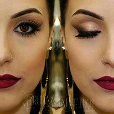 Makeup simples com batom vermelho