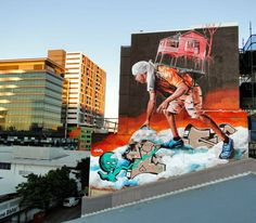 via Street Art News: Fintan Magee New Mural - Brisbane, Australia
