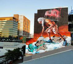 Street Art News: Fintan Magee New Mural - Brisbane, Australia June 2014
