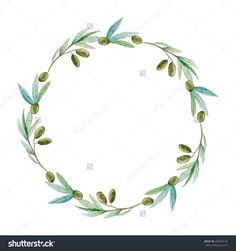 Watercolor Olive Branch Wreath. Hand Drawn Natural Vector Frame. - 229313155 : Shutterstock