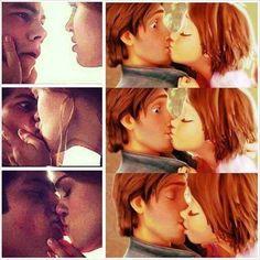 Stiles and Lydia kiss X tangled kiss