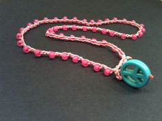 PEACE SIGN Turquoise little Girl necklace Pink on by wandandwear, $12.00