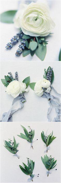 Wedding boutonnieres, lavender sprigs, white ranunculus, spring wedding flowers // Jenna McElroy Photography