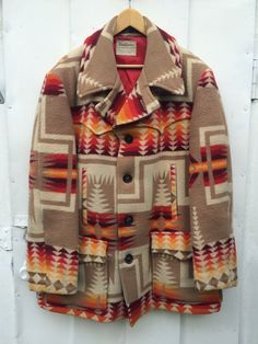 Vintage PENDLETON Indian Blanket Jacket 1970s Chief Joseph Navajo Heavy WOOL pea COAT Tribal Ethnic Hippie Boho Mens Outerwear Extra Large by JanetsVintagePlanet on Etsy