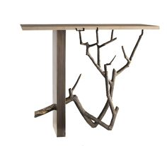 Buranchi Console  Contemporary, MidCentury  Modern, Organic, Transitional, Metal, Stone, Console Table by James Logan Furnishings (=)