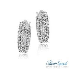 69fae6a1a $14.99 Sterling Silver 16mm Two Row Inside Out CZ Hoop Earrings # CubicZirconia #HoopEarrings #