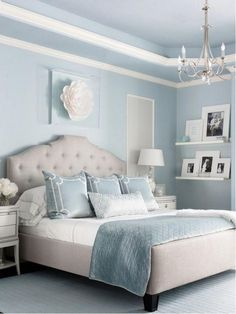 "master bedroom paint colors Benjamin Moore Brittany Blue Bedroom Via Marker Girl Home. ""Mom retreat a relaxing Master Bedroom in soft blue grey and white color palette. Relaxing Master Bedroom, Blue Master Bedroom, Master Bedrooms, White Bedroom, Master Suite, Master Master, Dream Bedroom, Bedroom Color Schemes, Bedroom Paint Colors"