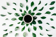 #Coffee and floral pattern  Coffee cup with leaves. Creative nature concept. Flat lay composition for bloggers magazines web designers social media and artists. This purchase includes one high resolution digital image. Image is a sRBG jpg and is approximately 3554x2369 pixels. License terms: http://ift.tt/1W9AIer