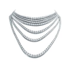 Find out more Convertible Tiffany Masterpieces Ribbons seven strand diamond necklace (POA) High Jewelry, Luxury Jewelry, Women Jewelry, Diamond Solitaire Rings, Diamond Jewelry, Diamond Necklaces, Solitaire Engagement, Diamond Design, Minimalist Jewelry