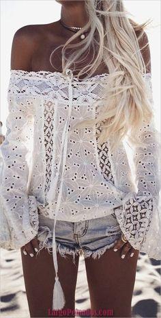 2017 New Summer Women Long Sleeve Loose Blouse Off Shoulder Shirts Tops Fashion blusas feminino Amazing White Mode Hippie, Mode Boho, Look Boho Chic, Bohemian Style, Hippie Style, Bohemian Fashion, Beach Fashion, Ibiza Fashion, Bohemian Art