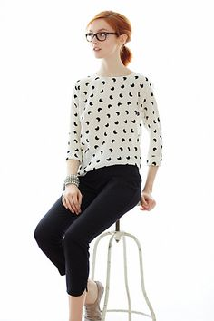 Eclipsing Silk Blouse - great with skinny ankle jeans and oxfords, a pencil skirt, or trousers (of any color really, I want to play up the seriousness of the black/white)