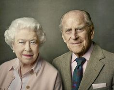 Love and support: The Queen and Prince Philip wear matching pale pink in this photograph, released on Prince Philip's 95th birthday