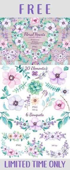 The Simply Spring Graphics Bundle//FREE Floral Hearts Watercolor Collection #plannerstickers #plannerlove #planwithme