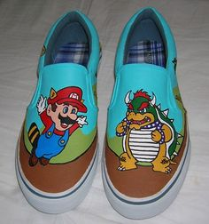 Hand Painted Super Mario Brothers Shoes in any size by Ambiature, $85.00
