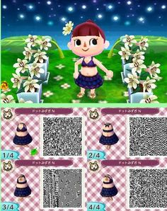 Animal Crossing New Leaf dark summer outfit (click through for larger photos and other colors of outfit)