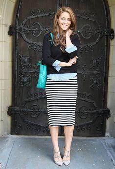 SMART CASUAL[autumn]: striped pencil skirt; denim shirt; black jumper; blue accessories