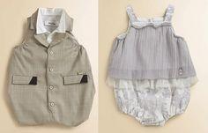 Designer baby clothes: Left: Dior infant tuxedo shortall. Right: Dior infant 'Enchantees' bubble shortall.