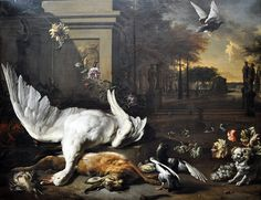 Jan Weenix (1642-1719) Still Life with Swan and Game before a Country Estate (1685) Dutch, oil