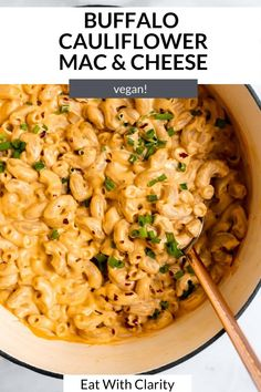 this baked vegan buffalo cauliflower mac and cheese is the perfect game day recipe. it's creamy, easy to make and perfectly spiced. Make this vegan mac and cheese gluten free too! #macandcheese #veganmacandcheese Vegan Buffalo Cauliflower, Cauliflower Mac And Cheese, Vegan Mac And Cheese, Macaroni And Cheese, Perfect Game, Perfect Food, Pasta Recipes, Dinner Recipes, Meal Recipes