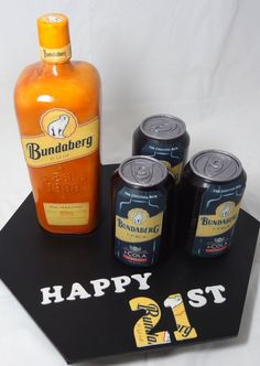 Bundy Rum cake bottle and cans — Birthday Cake Photos  -  Amazingly real!